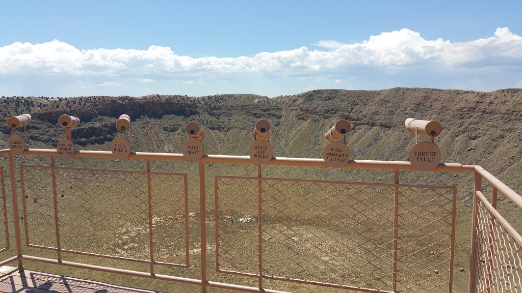A line of telescopes to better see some of the features of the crater and the rim.